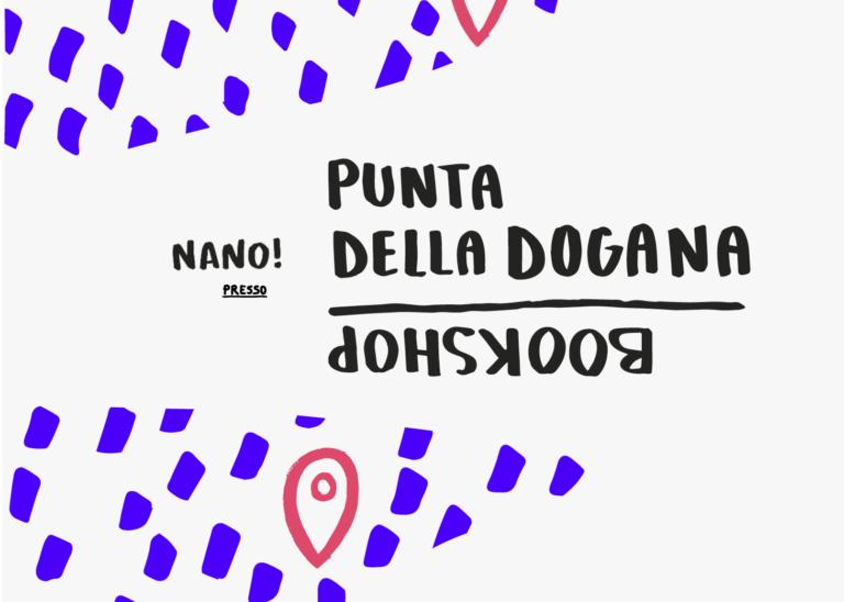 Artemia a bookshop di Punta della Dogana con Perpetuo! e Nanetto! artefatti di grafica editoriale in carta Fedrigoni