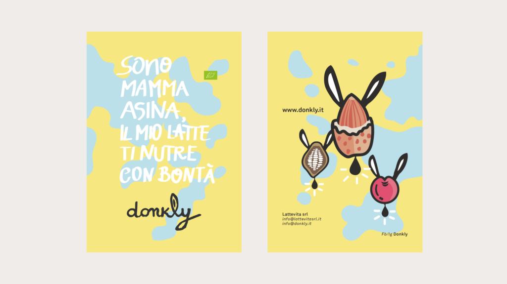 packaging design e brand design per Donkly latte d'asina