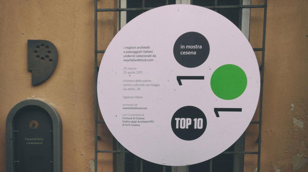 allestimento ed identità visiva mostra Top Ten Cesena
