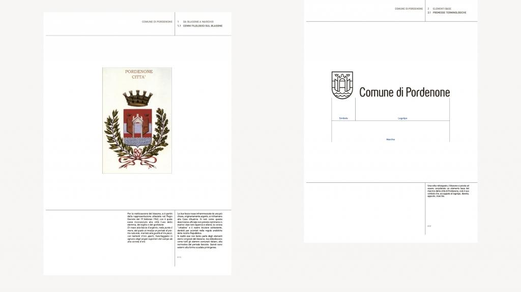 declinazione del marchio Brand identity comune di Pordenone artemia group