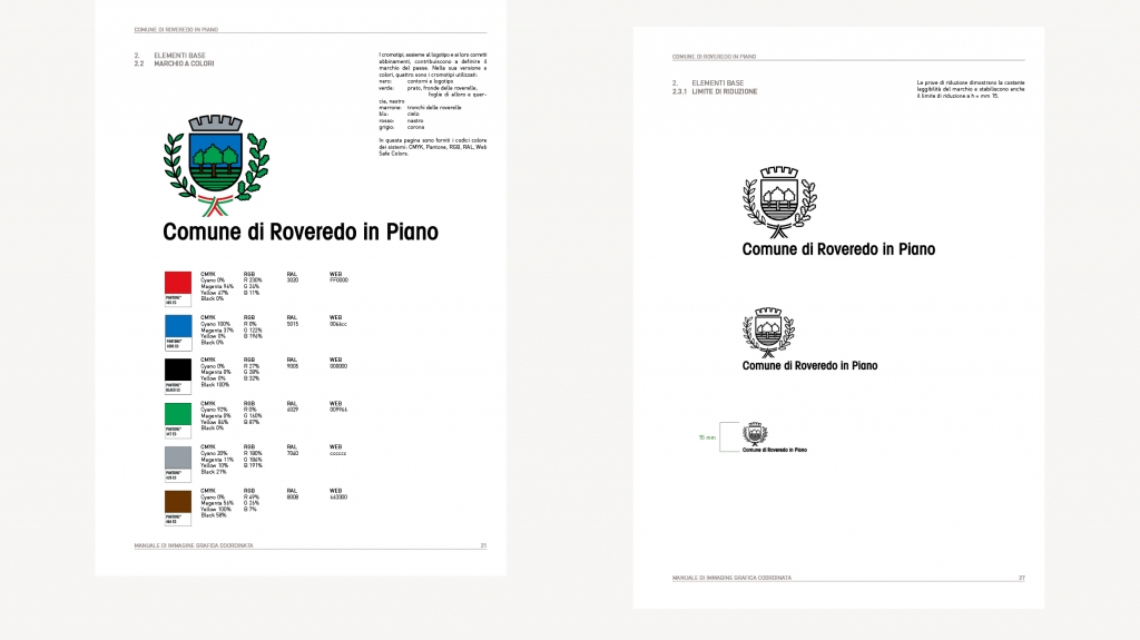visual identity comune di roveredo in piano