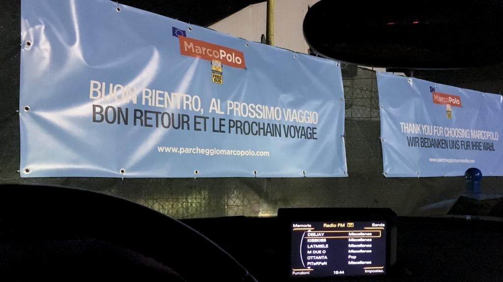 banner arrivederci parcheggio MarcoPolo